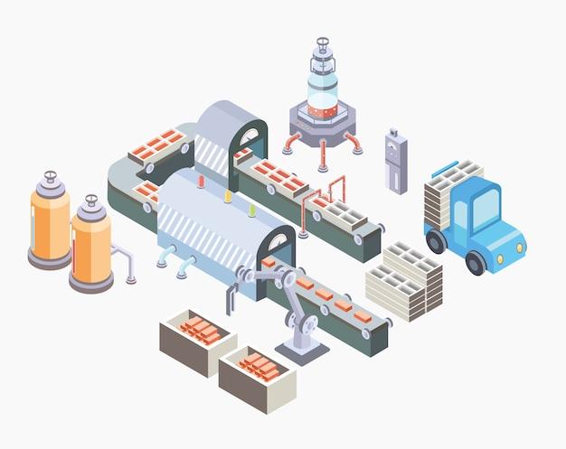 Zautomatyzowana linia produkcyjna. hala fabryczna z przenośnikiem i różnymi maszynami. ilustracja w rzucie izometrycznym, na białym tle.