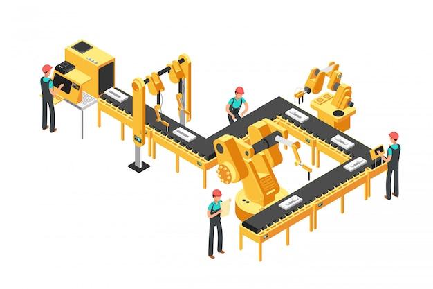 Zautomatyzowana linia produkcyjna, przenośnik fabryki z pracownikami i ramiona robotyczne izometryczny koncepcja wektor przemysłowy