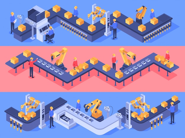 Zautomatyzowana linia przemysłowa. ilustracja wyposażenia przenośnika opakowaniowego, linii automatyki i fabryk przemysłowych