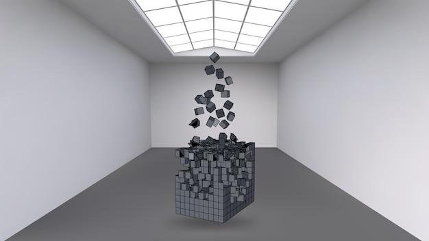Zawieszenie sześcianu z mnóstwa małych wielokątów w dużym pustym pokoju. przestrzeń wystawiennicza o abstrakcyjnych kubicznych kształtach. sześcian w momencie wybuchu jest podzielony na drobne cząstki.