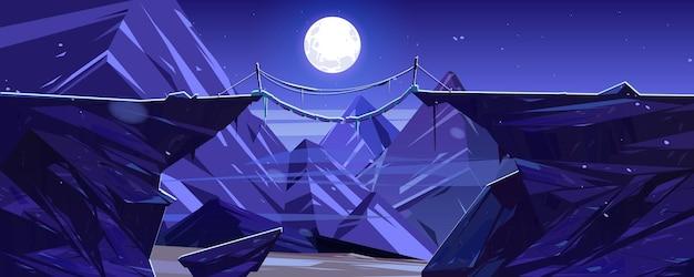 Zawieszony górski most nad nocnymi klifowymi szczytami skalnymi i scenerią pełni księżyca