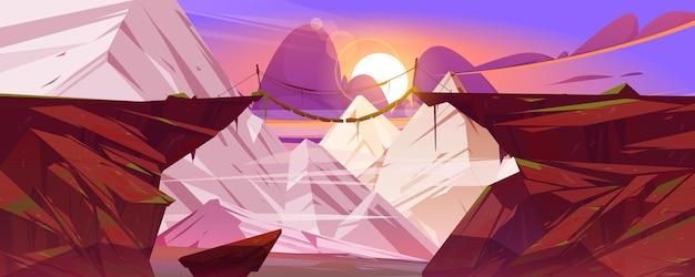 Zawieszony górski most wisi nad klifami ośnieżonymi szczytami skalnymi krajobraz ilustracja kreskówka