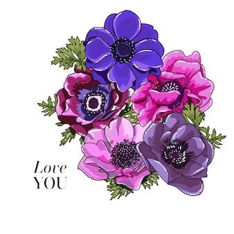 Zawilec kwiat bukiet kwiatowy bukiet boho ręcznie rysowane element