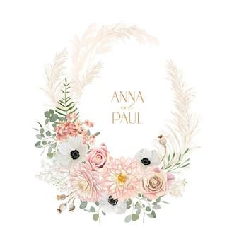 Zawilec ślubny, róża, wieniec kwiatowy z trawy pampasowej. wektor wiosna suszone kwiaty boho zaproszenie karty. akwarela szablon ramki, ozdoba liści, nowoczesny plakat, modny design