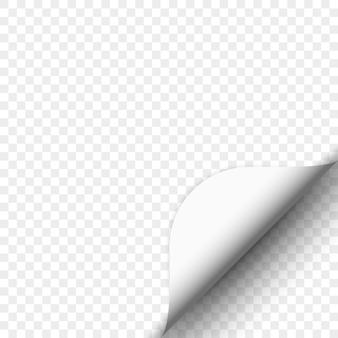 Zawinięcie strony na przezroczystym tle. biały papier. .