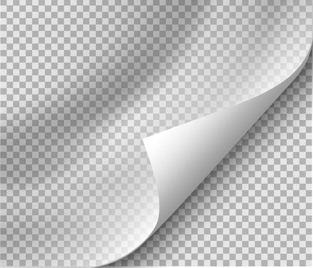 Zawinięcie strony z cieniem na pustej kartce papieru do wiadomości reklamowych i promocyjnych na przezroczystym tle
