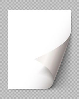 Zawinięcie strony z cieniem na pustej kartce papieru. naklejka z białego papieru. element wiadomości reklamowej i promocyjnej na przezroczystym tle. element projektu szablonu, ilustracji wektorowych