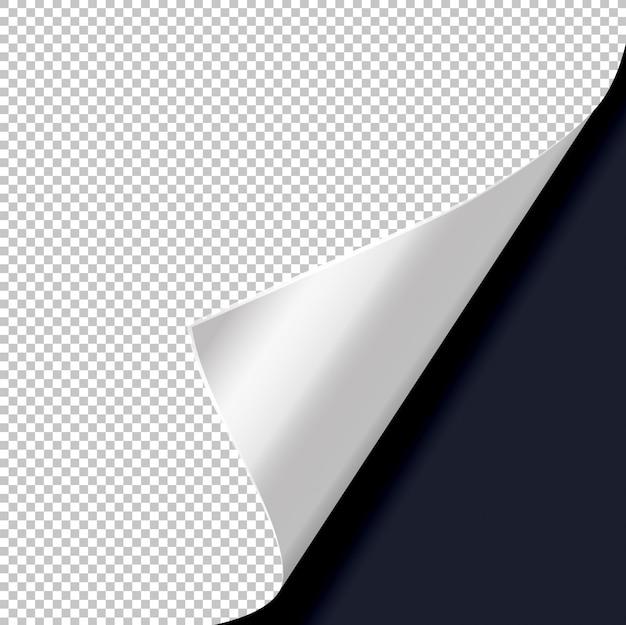 Zawinięcie strony z cieniem na pustym arkuszu papieru