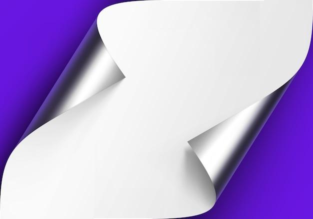 Zawinięte metalowe srebrne rogi białego papieru z cieniem