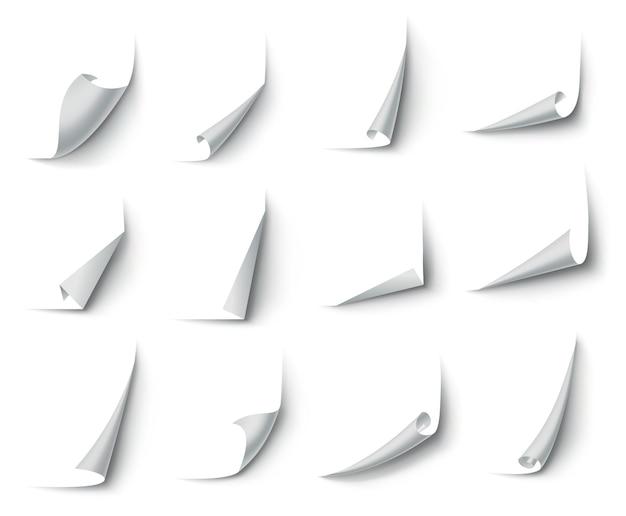 Zawinięte rogi papieru. zakrzywiony róg strony, zawinięty brzeg strony i zagięty arkusz papieru z realistycznym cieniem.