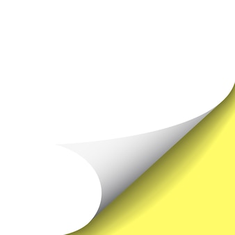 Zawinięty róg papieru na przezroczystym tle z cieniami.
