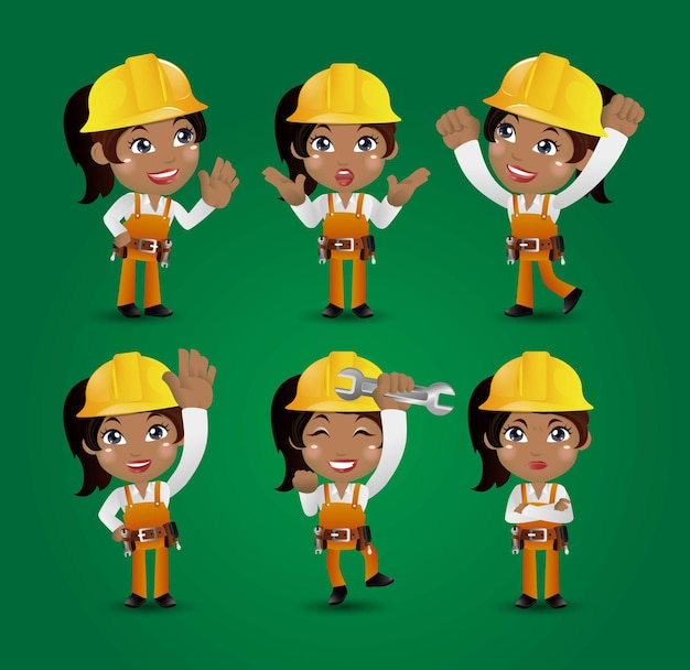 Zawód - budowniczy. pracownik. inżynier z różnymi pozami