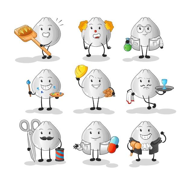 Zawód bułki mięsnej zestaw znaków. kreskówka maskotka