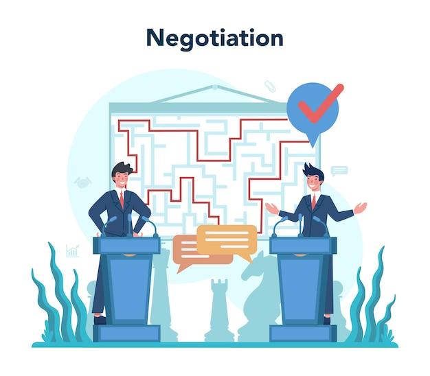 Zawód dyplomaty. idea stosunków międzynarodowych i rządu.