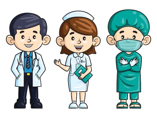 Zawód kreskówka lekarz, pielęgniarka i chirurg