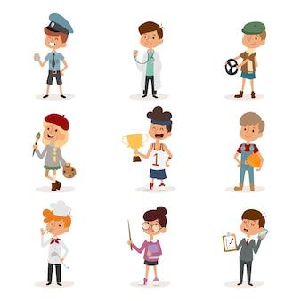 Zawód kreskówki dla dzieci dzieci zestaw ilustracji osoba dzieciństwo malarz sportowiec kucharz konstruktor policjant lekarz artysta kierowca