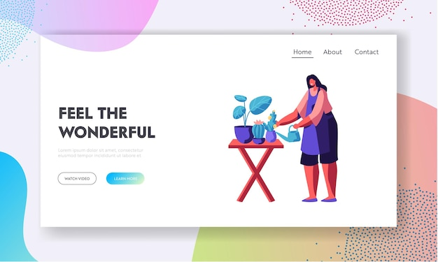 Zawód kwiaciarni, praca, kwiaciarnia. dziewczyna opiekuje się roślinami w doniczkach, tworzy kompozycje projektowe dla klientów odwiedzających sklep, strona docelowa witryny, strona internetowa. ilustracja wektorowa płaski kreskówka