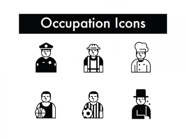 Zawód lub ikona pracy lub zawodu wektor zestaw