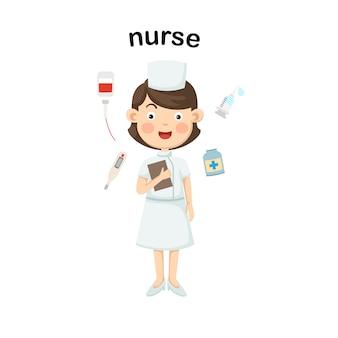 Zawód pielęgniarka. wektor
