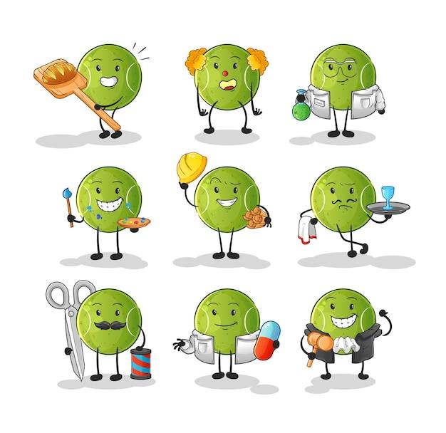 Zawód piłki tenisowej zestaw postaci. kreskówka maskotka
