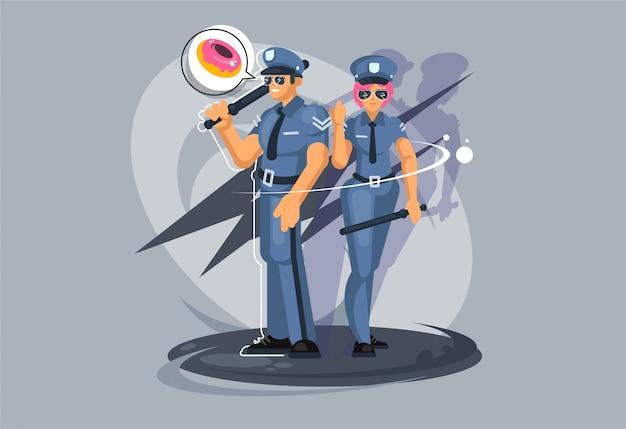 Zawód policjanta. facet i dziewczyna w mundurze policyjnym.