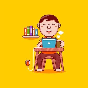 Zawód projektanta graficznego człowieka w stylu płaskiej kreskówki