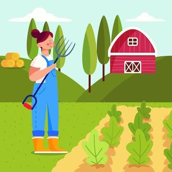 Zawód rolnictwa ekologicznego płaska ilustracja