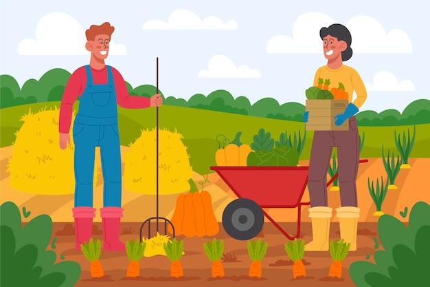 Zawód rolnictwa ekologicznego płaska konstrukcja