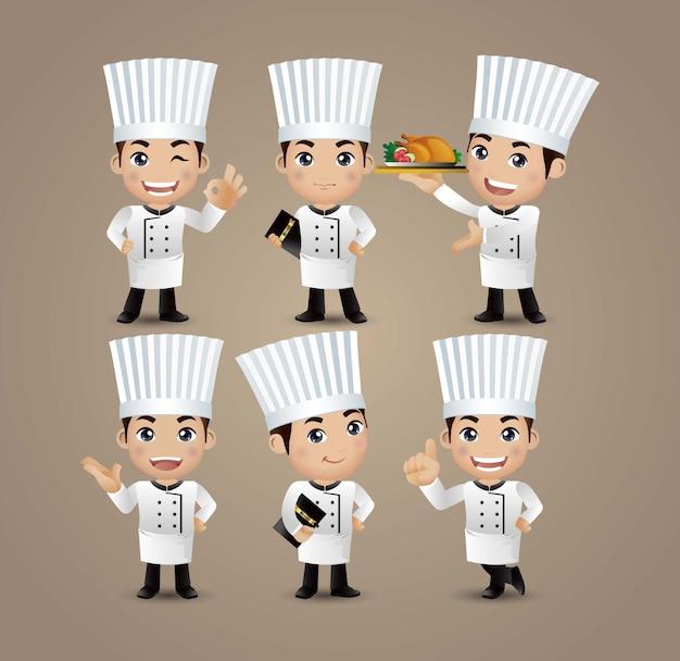 Zawód - szef kuchni o różnych pozach