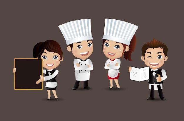 Zawód szefa kuchni z różnymi pozami
