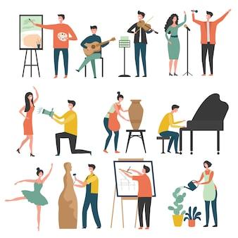 Zawód twórczy. stylizowane postacie twórczych artystów, rzeźbiarzy, rysują kolorowe aktorzy