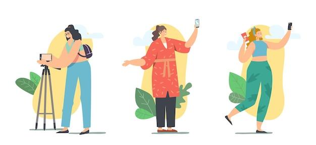 Zawód vlogera, vlogowanie w social media concept. kobiece postacie nagrywające wideo na smartfonie dla internetu vlog na żywo, nadawanie dla obserwujących. ilustracja wektorowa kreskówka ludzie