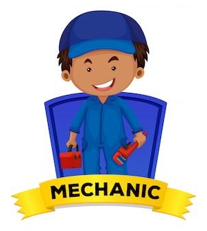 Zawód wordcard z słowo mechanikiem