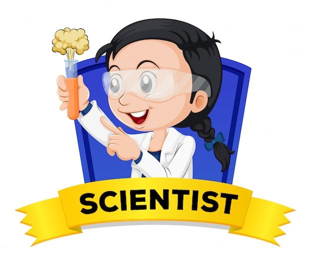 Zawód wordcard z żeńskim naukowcem