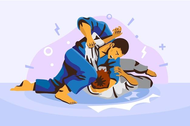 Zawodnicy jiu jitsu walczą