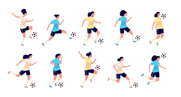 Zawodniczki piłki nożnej. izolowani ludzie sportu. kobiety w piłce nożnej, śliczna aktywna osoba. trening dla postaci dziewcząt w mundurze. kobieta piłkarz grający w gry szkolenia ilustracji