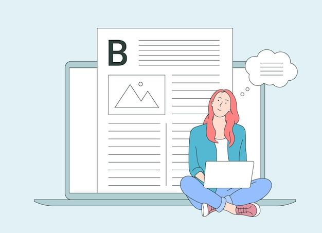Zawody, blogowanie, koncepcja vlogowania. śliczna dziewczyna za pomocą laptopa studiuje, przegląda internet, media społecznościowe, bloguje.