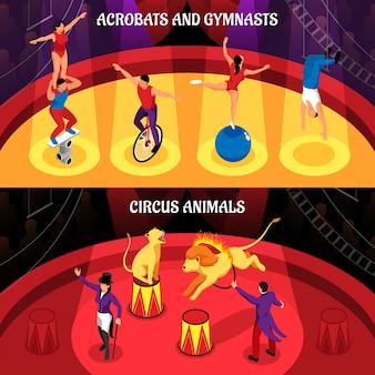 Zawody cyrkowe zestaw poziome transparenty izometryczne wyszkolonych zwierząt akrobatów i gimnastyczek na białym tle