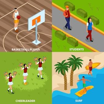Zawody ludzi izometryczny koncepcja na białym tle z koszykarz i surferów cheerleaderek i studentów