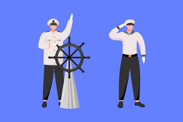 Zawody morskie płaskie. nawigator ze sterem. statek wycieczkowy. zawód morski. kapitan i marynarz na białym tle postaci z kreskówek na niebieskim tle