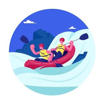 Zawody sportowe na spływach kajakowych lub raftingowych. sportowcy wioślarni w kajakach na rocky shore. płaskie ilustracja kreskówka