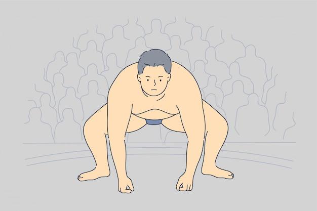 Zawody sportowe otyłość przygotowanie japonia walka zapaśnicza koncepcja