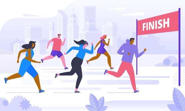 Zawody w maratonie, trening lub ćwiczenia na świeżym powietrzu, lekkoatletyka. mężczyźni i kobiety ubrani w sportowe stroje do biegania lub biegania po parku. zdrowy, aktywny tryb życia. ilustracja wektorowa kolorowy płaski kreskówka.