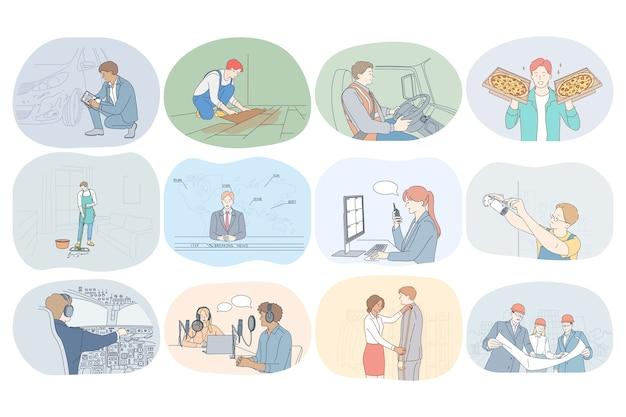 Zawody, zawód, praca, praca, specjaliści, praca, koncepcja biznesowa.