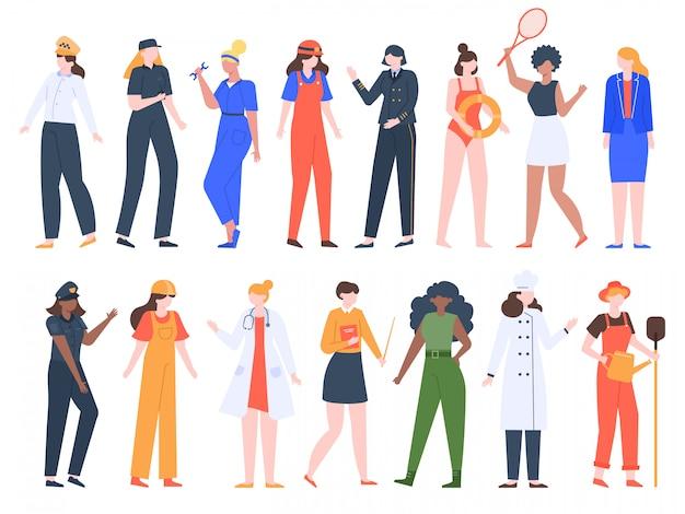 Zawody zawodowe kobiet. pracownice, mundurek zawodowy, lekarz, policjant, kierowca i robotnicy budowlani zestaw ilustracji. ludzie kobiety praca, dziewczyny nauczyciel pracy grupowej, kucharz