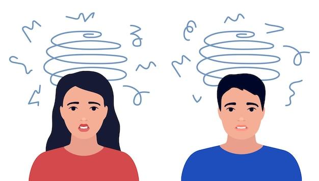 Zawroty głowy stres smutne i niespokojne myśli mężczyzny i kobiety chłopak i dziewczyna zawroty głowy