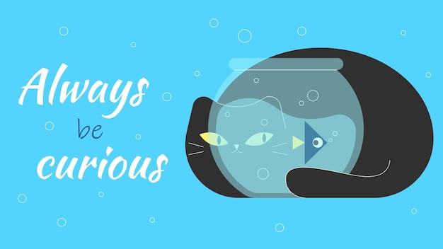 Zawsze bądź ciekawy kot patrzy przez szybę akwarium bawi się z rybami karta z rybą pływającą