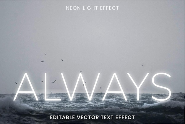 Zawsze biały neonowy efekt tekstu wektorowego z edytowalnym tekstem