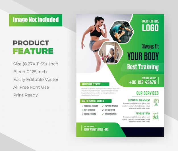 Zawsze dopasuj swoje ciało według szablonu ulotki best training center w kolorze zielonym.