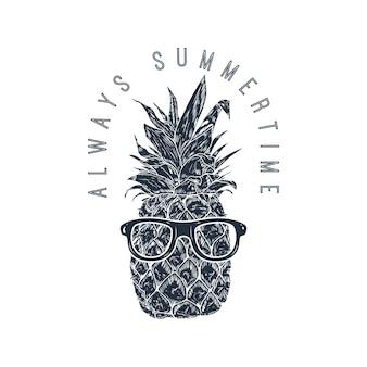 Zawsze lato. ananas w okularach przeciwsłonecznych. element projektu plakatu, menu ,.
